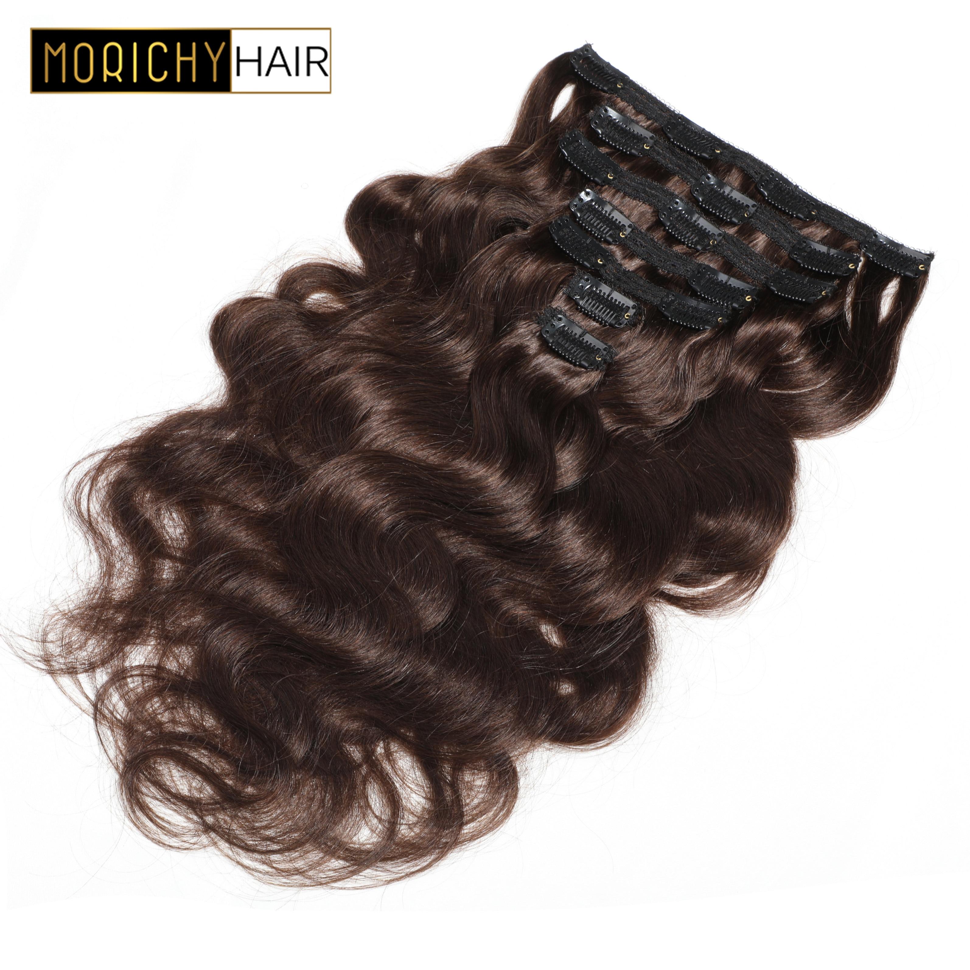 Morichy indien corps vague Clip dans les Extensions de cheveux humains Non Remy cheveux #1 #2 # 1B couleur pleine tête 7 pièces/ensemble livraison gratuite