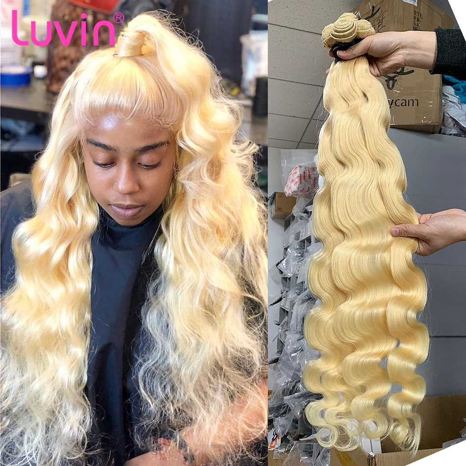 <font><b>Luvin</b></font> Brazilian Remy <font><b>Hair</b></font> Body Wave 1 3 4 Bundles 613 Blonde <font><b>Hair</b></font> Unprocesse Human <font><b>Hair</b></font> Weave Bundles <font><b>Hair</b></font> Extensions 30 inch image