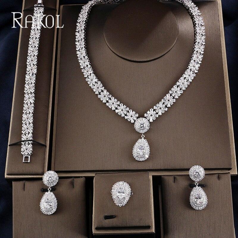 RAKOL Exclusive Dubai White Color Luxury Cubic Zirconia Necklace Earring Bracelet Party Wedding Jewelry Set For Women RS03129