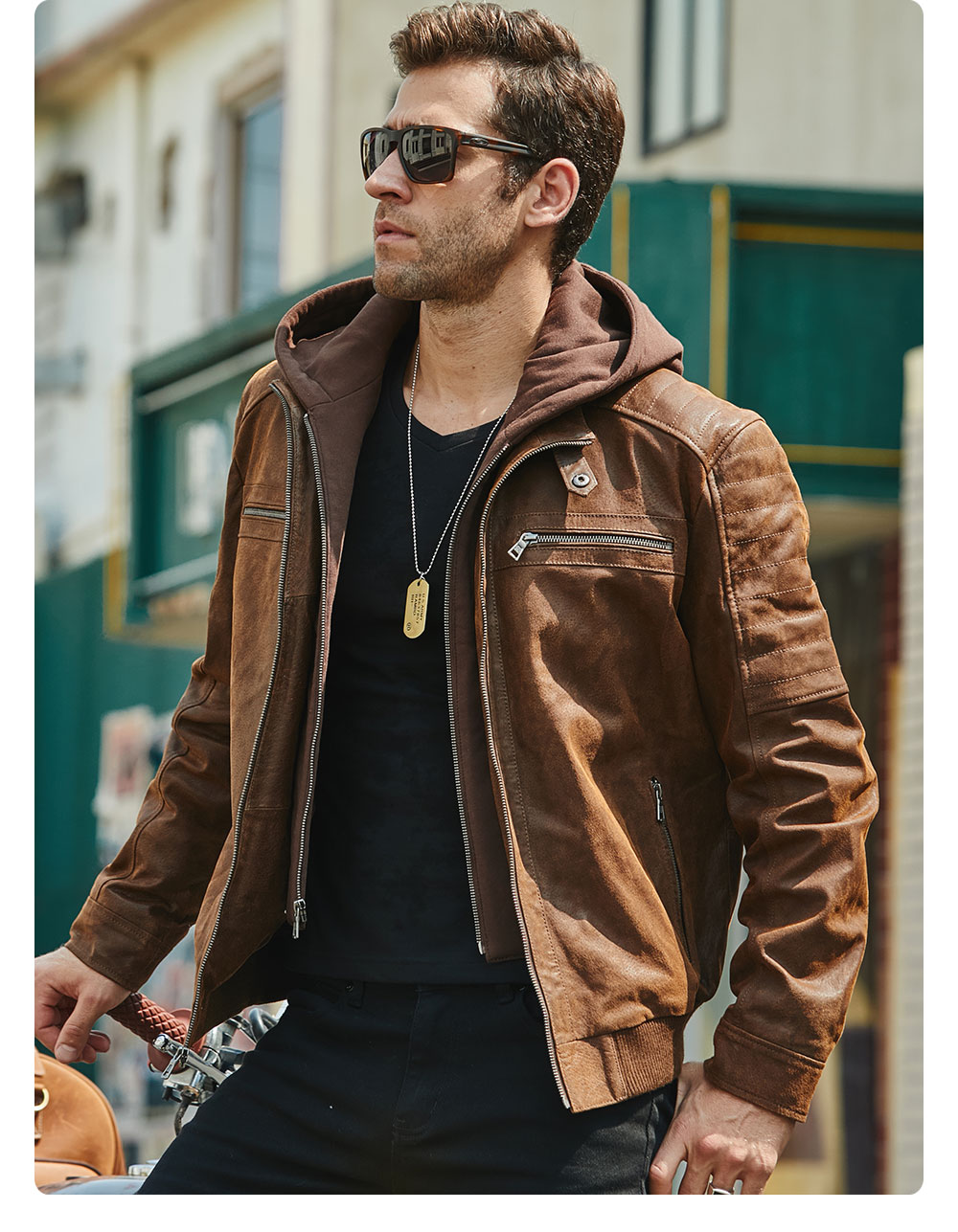 Hd189166d082a4865b702d4f79ee3ebe9W New Men's Leather Jacket, Brown Jacket Made Of Genuine Leather With A Removable Hood, Warm Leather Jacket For Men For The Winter