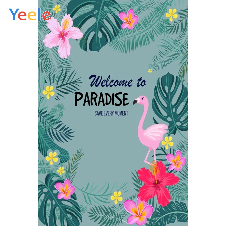 Yeele Love 6x4ft Photography Background Tropical Plant Palm Tree Pink Flower Lotus Summer Photo Backdrop Portrait Shooting Studio Props Wallpaper
