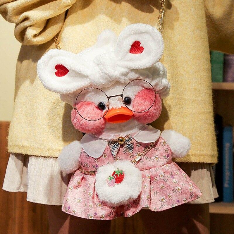 30cm Kawaii LaLafanfan Cafe Duck Crossbody Bag Plush Toy Soft Stuffed Shoulder Bag Shoulder Satchel Bag Birthday Gift for Girls