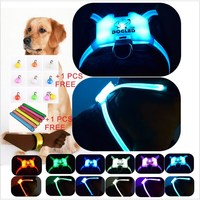 led dog strap dog braces multicolor 7 in 1 USB recharable multi function dog harness rainroof DIY dogharness large size