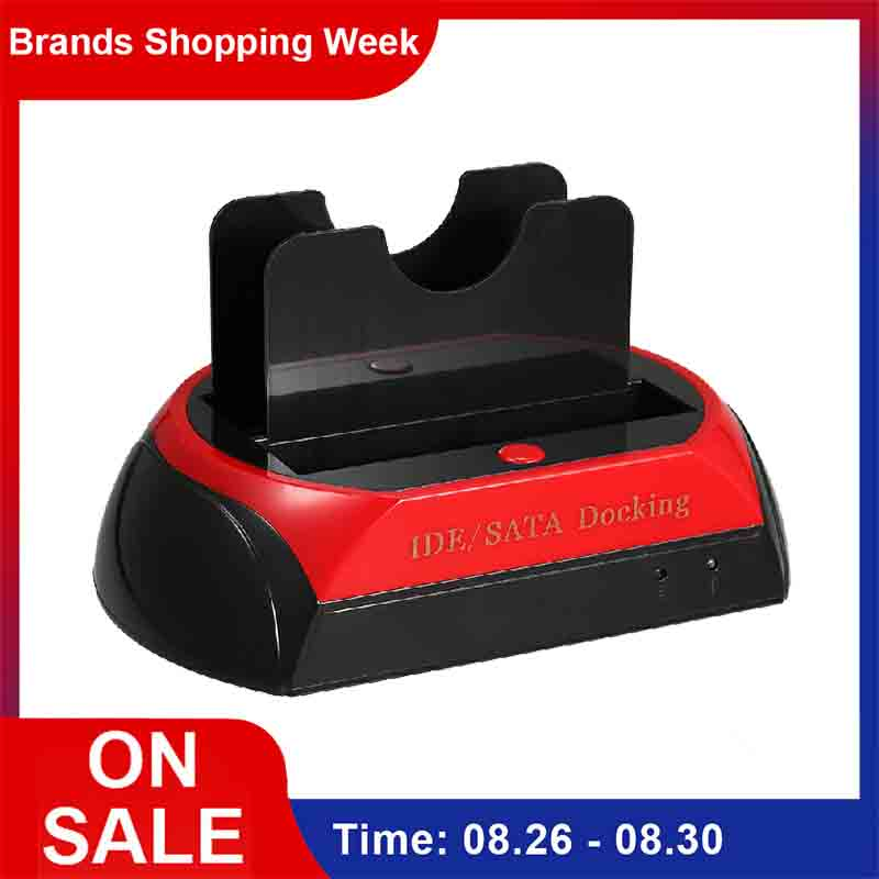 HDD Docking Station Dual Internal Hard Disk Drive Docking Station Base HDD Enclosure for 2.5 Inch 3.5 Inch IDE/SATA USB 2.0