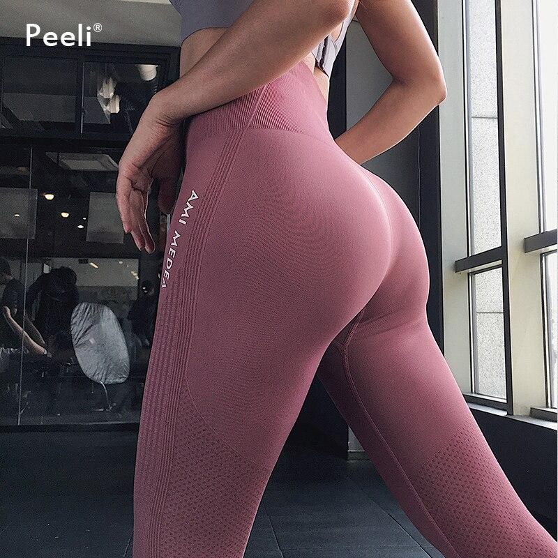 Peeli Tummy Control Yoga Pants Women Seamless Leggings Fitness Gym Tights Push Up Sports Leggings High