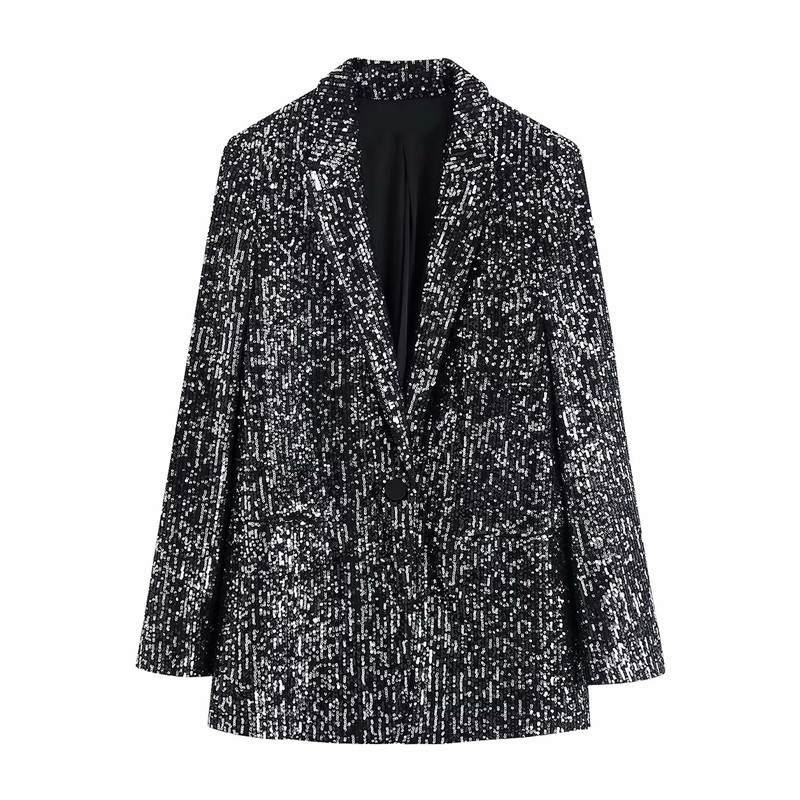 Stylish Office Wear Pockets Sequins Blazer Coat Women Vintage Notched Collar Long Sleeve Female Outerwear Chic Tops