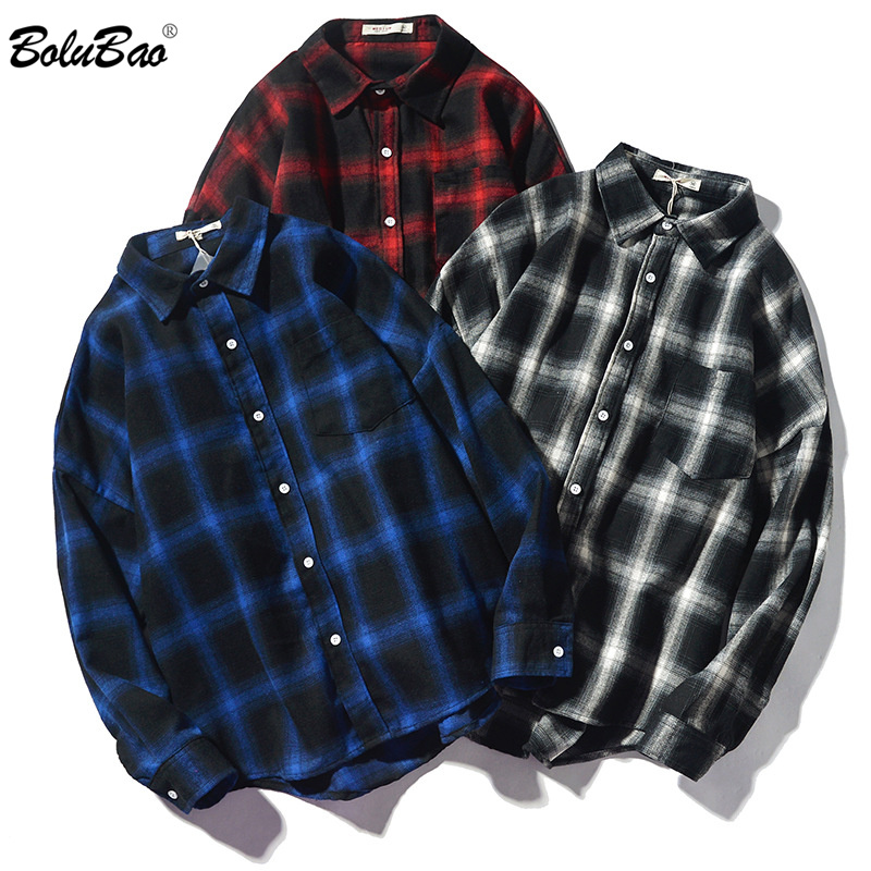 BOLUBAO Fashion Trend Men Plaid Shirt Autumn Brand New Men Retro Wild Casual Shirt Tops Male Lapel Long Sleeve Shirts