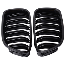 цена на Mayitr 1Pair Gloss Matt Carbon Chrome Glossy Black Color Front Kidney Grill Grille For BMW 11-16 4D Sedan/5D Touring 5 Series