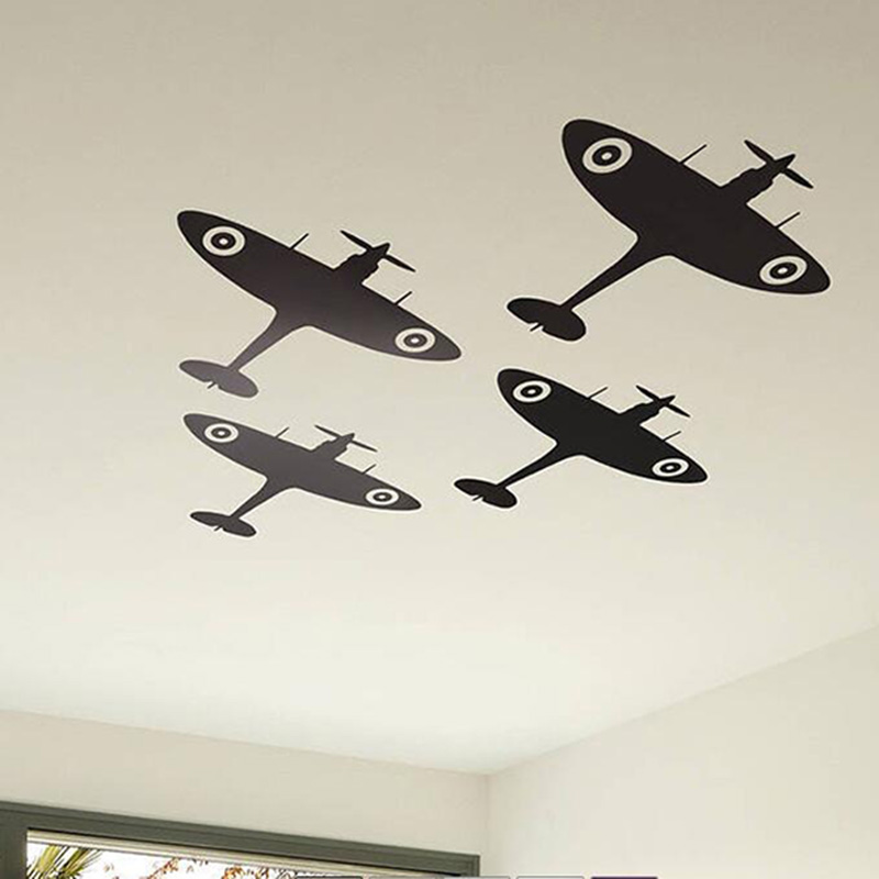 4Pcs Spitfire Airplane Ceiling Wall Sticker Baby Nursery Kids Room Cartoon Fighter Military Wall Decal Bedroom Vinyl Decor image