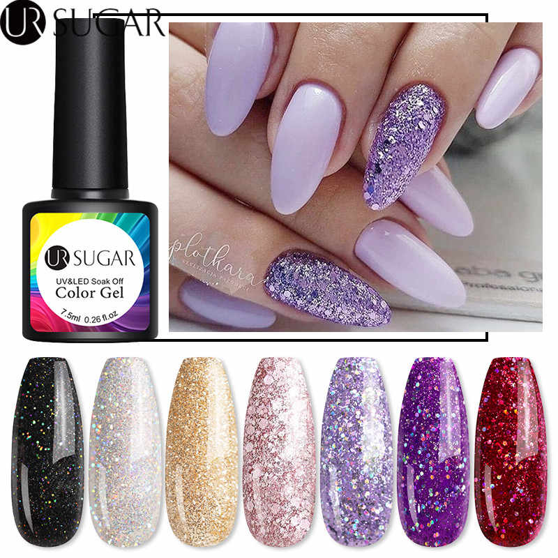 Ur Suiker 7.5 Ml Paars Rose Goud Glitter Uv Gel Polish Glanzende Pailletten Laser Gel Nagellak Losweken Uv led Gel Diy