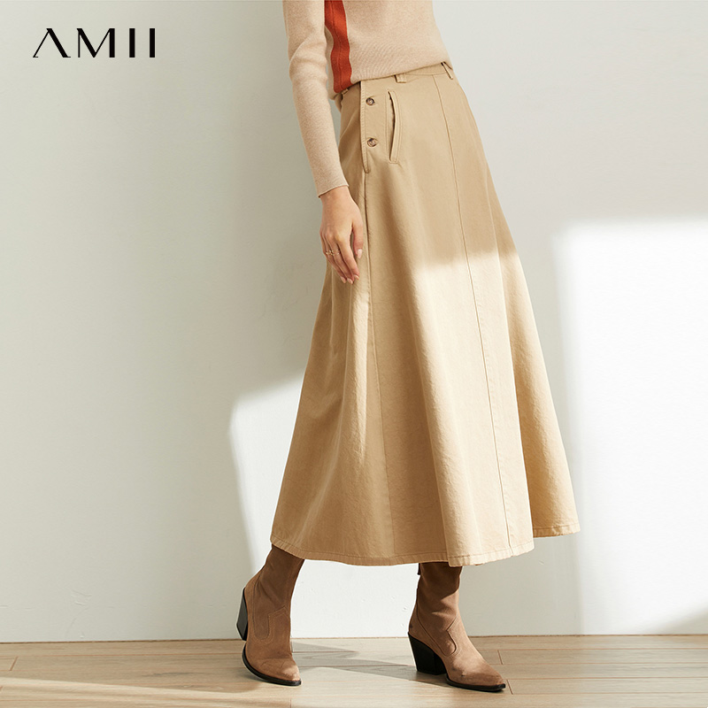 Amii Minimal French Chic Temperament Skirt Women New Leisure A-Shaped Cotton Denim Skirt 11940492