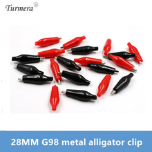 28MM Metal Alligator Clip G98 Crocodile Electrical Clamp Testing Probe Meter Black Red 20Pcs with Plastic Boot Car Auto Battery 50pcs 100pcs single handle alligator clip nickel plating 50mm iron clamp for testing electric probe meter crocodile clip