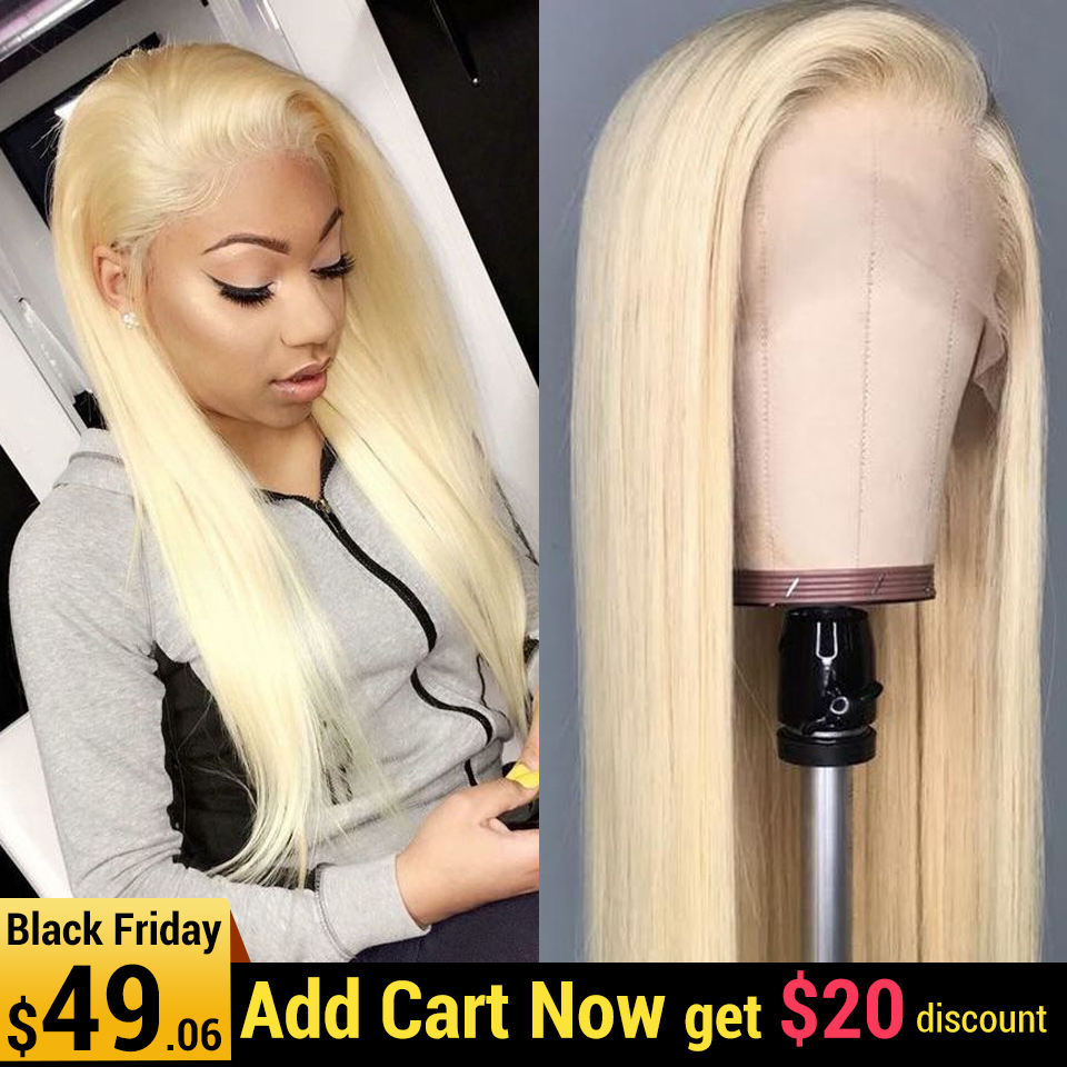 150% Density 13X4 Blonde Lace Front Human Hair Wigs With Transparent Lace Pre Plucked Straight Brazilian Remy 613 Lace Front Wig image