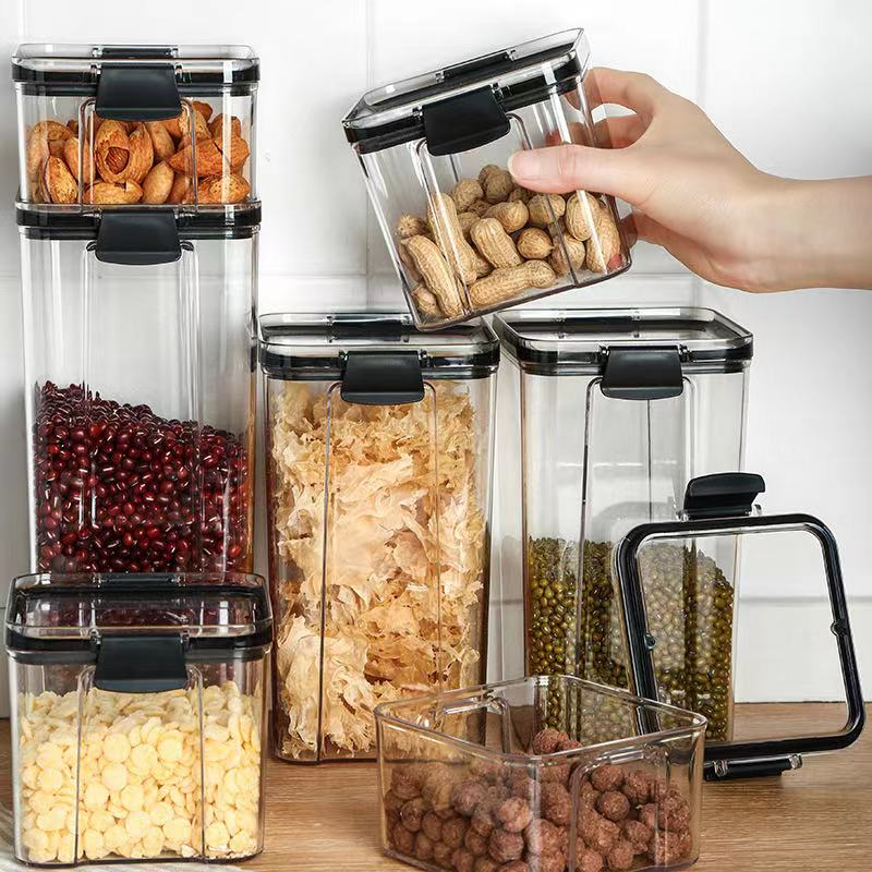 Multi-purpose Food Storage Box Cold Room Cabinet Living Room Storage Tank Multigrain Storage Tank Transparent Sealed Cans