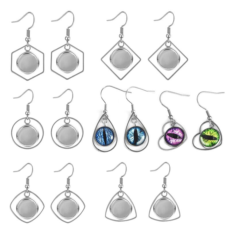 Stainless Steel Earring Hooks Blanks Fit Cabochon Setting Trays Pendent Earrings