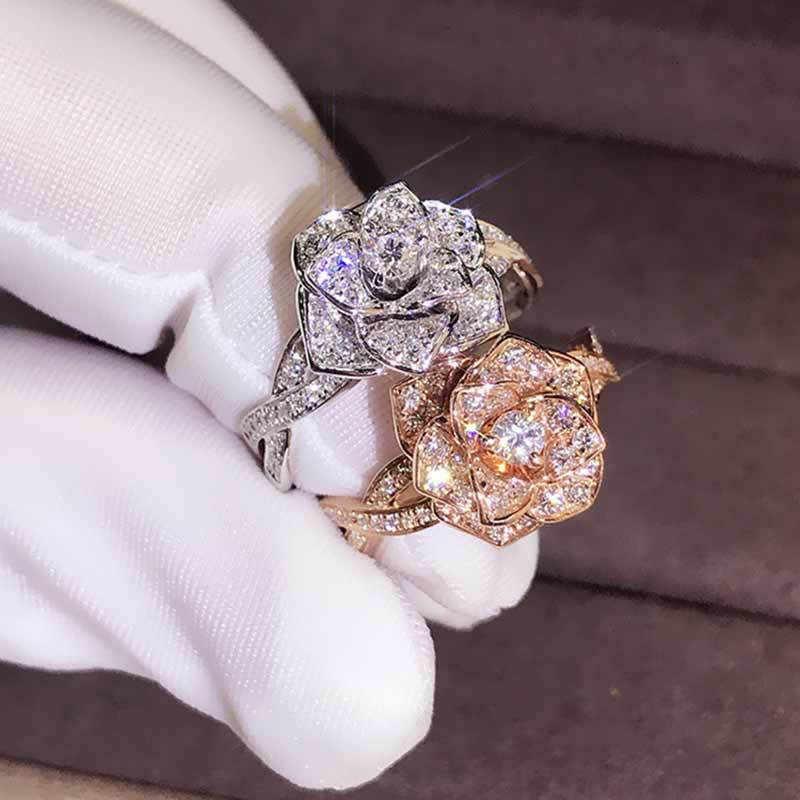 NEWBUY แฟชั่นเงิน/Rose Gold สี Cz Zircon แหวนดอกไม้สำหรับผู้หญิงสาวร้อนขายหญิงแหวนเครื่องประดับหมั้น