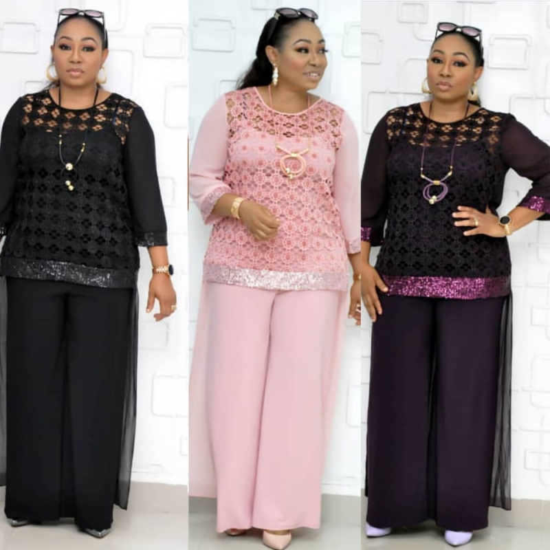 3 Piece Sets African Sets For Women Sequined African Elastic Bazin Baggy Pants Rock Style Dashiki Sleeve Famous Suit For Lady