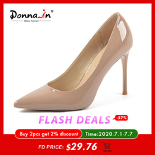 Donna-in Leather Thin High Heels Shoes Women Pumps Large Siz