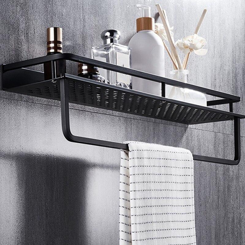מדף לחדר האמבטיה שחור מט עם מקום למגבת 1
