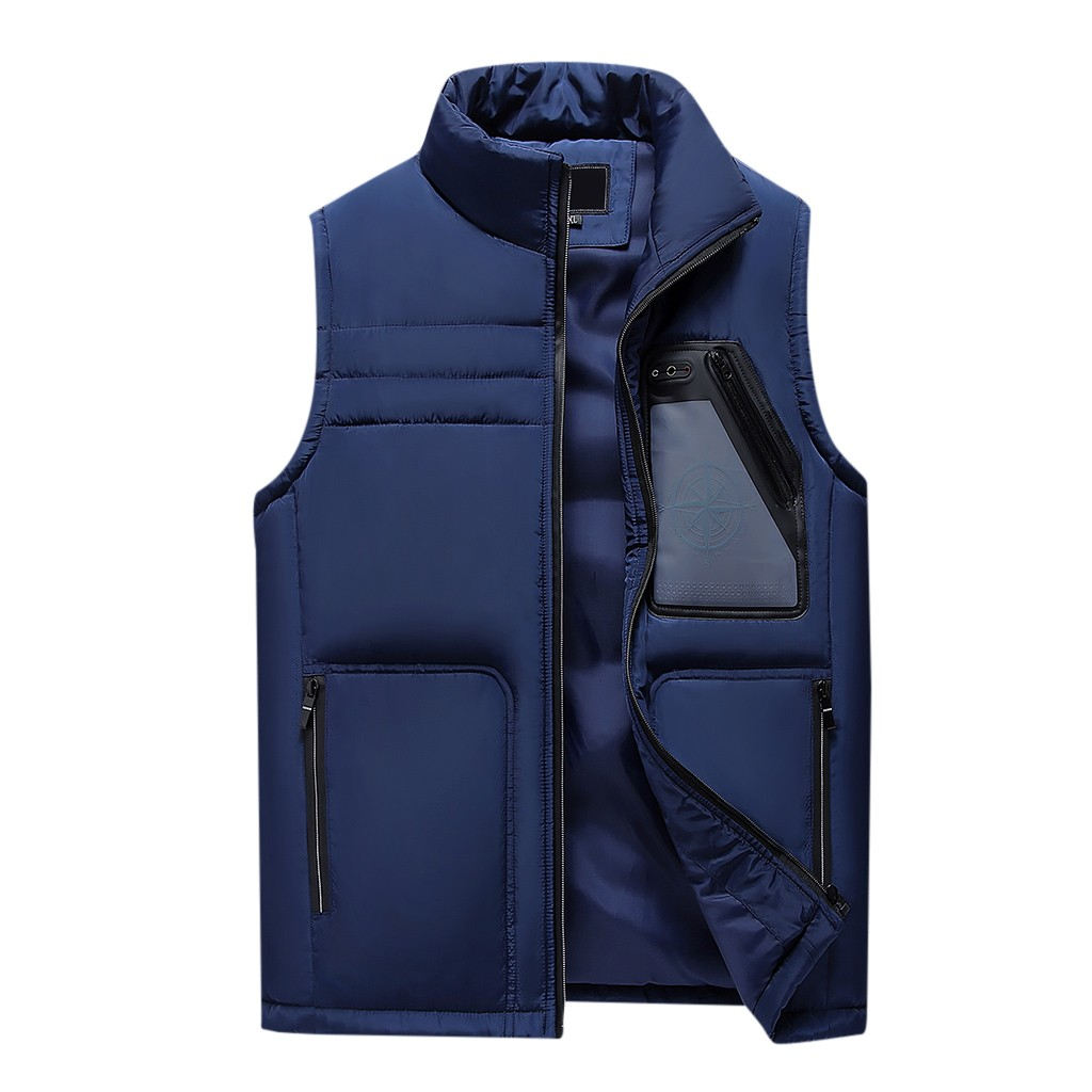 JAYCOSIN Men's Jackets Vests New Fashion 2019 Autumn Winter Zipper Thickening Jacket Tops Blouse male Solid Casual Outwear Vest
