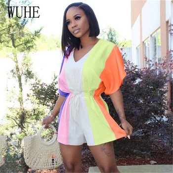 WUHE Rainbow Short Sleeve Sexy Playsuit Striped Print V Neck Loose Streetwear Casual Shorts Rompers Women Jumpsuit Overalls
