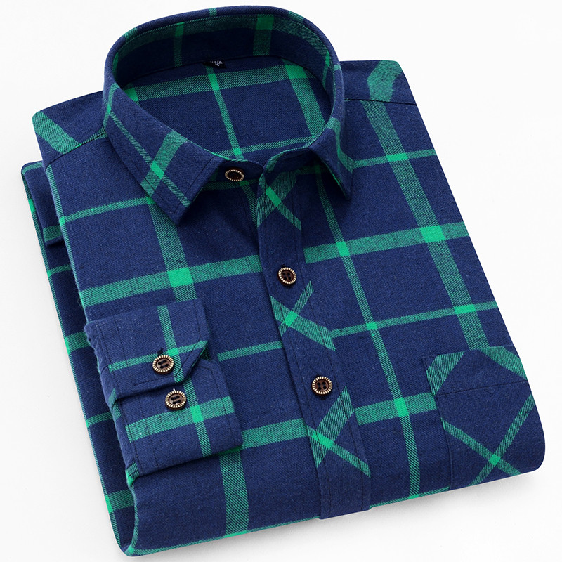 18 Colors 2019 Autumn Winter Warm Thick Mens Dress Shirt Casual Plaid Shirt Men  Brand Quality Cotton Social Business Shirt Men 36