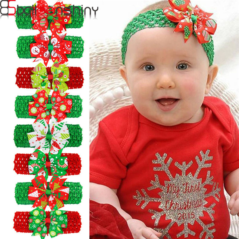BalleenShiny Baby Christmas Big Bowknot Headband Soft Elastic Headwear Printing Head Accessories For Boys Girls Photograpy Prop