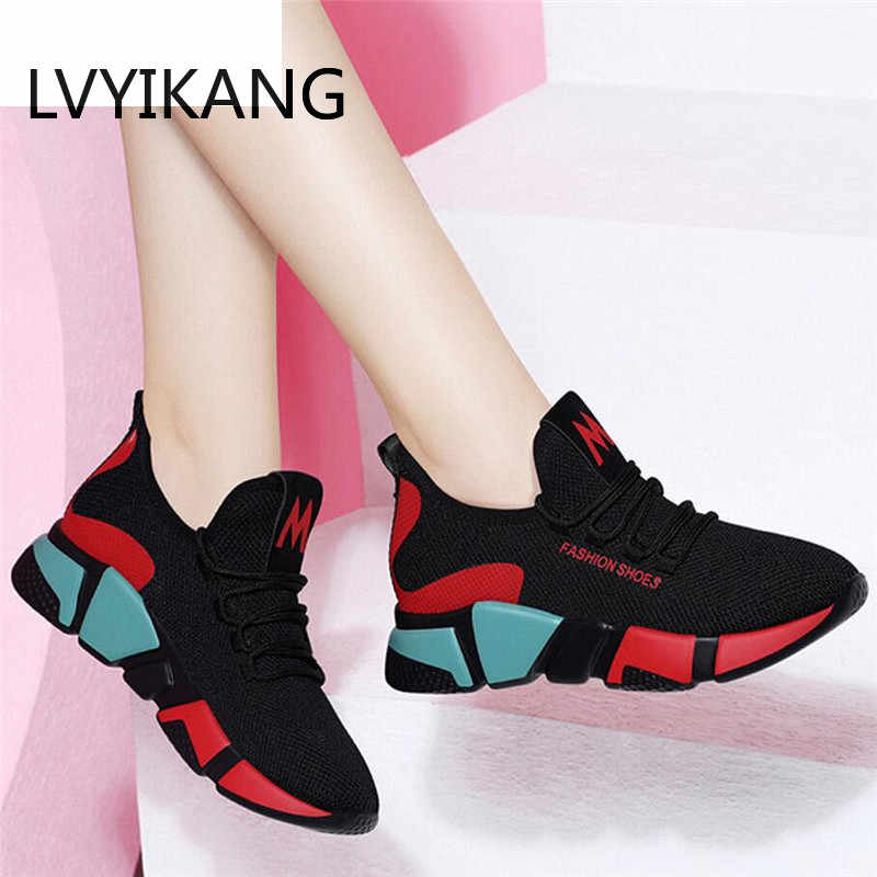 LVYIKANG 2019 Spring Women Fashion Mesh Lace-up Sneakers Vulcanized Shoes Ladies Casual Shoes Breathable Walking Mesh Flats