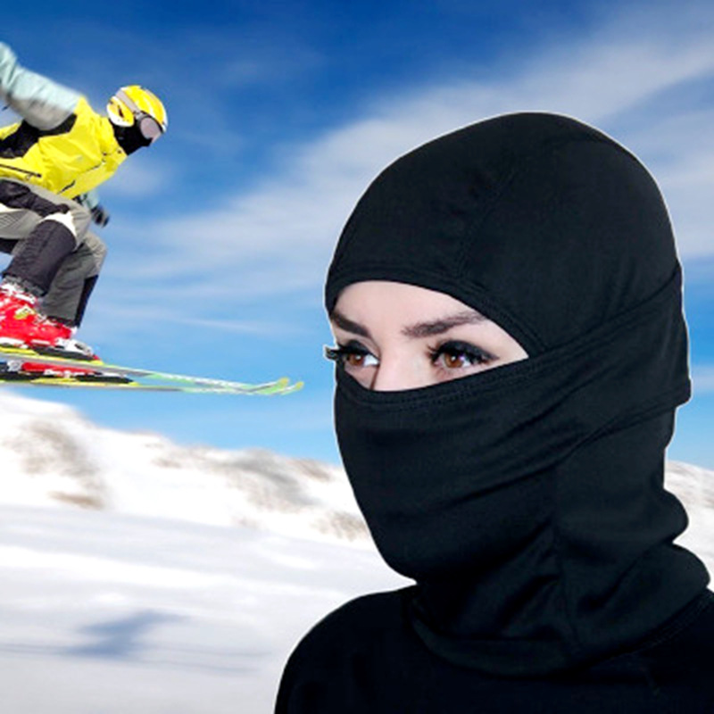 1pc All Season Solid Breathable Balaclava Face Mouth Mask Man Women Unisex Outdoor Cycling Mask Black Mask Mouth Head Cover