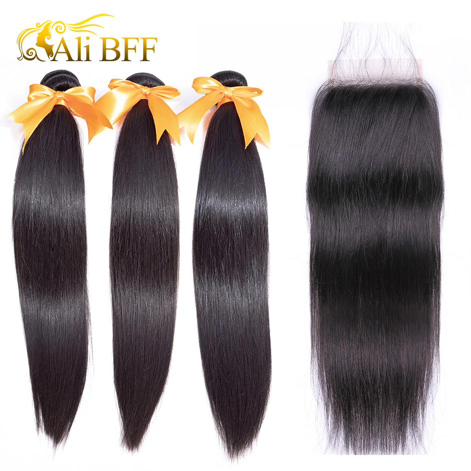 ALI BFF Brazilian Straight Hair Bundles With Closure 100% Human Hair Bundles With Closure Remy Hair Extension Free Shipping