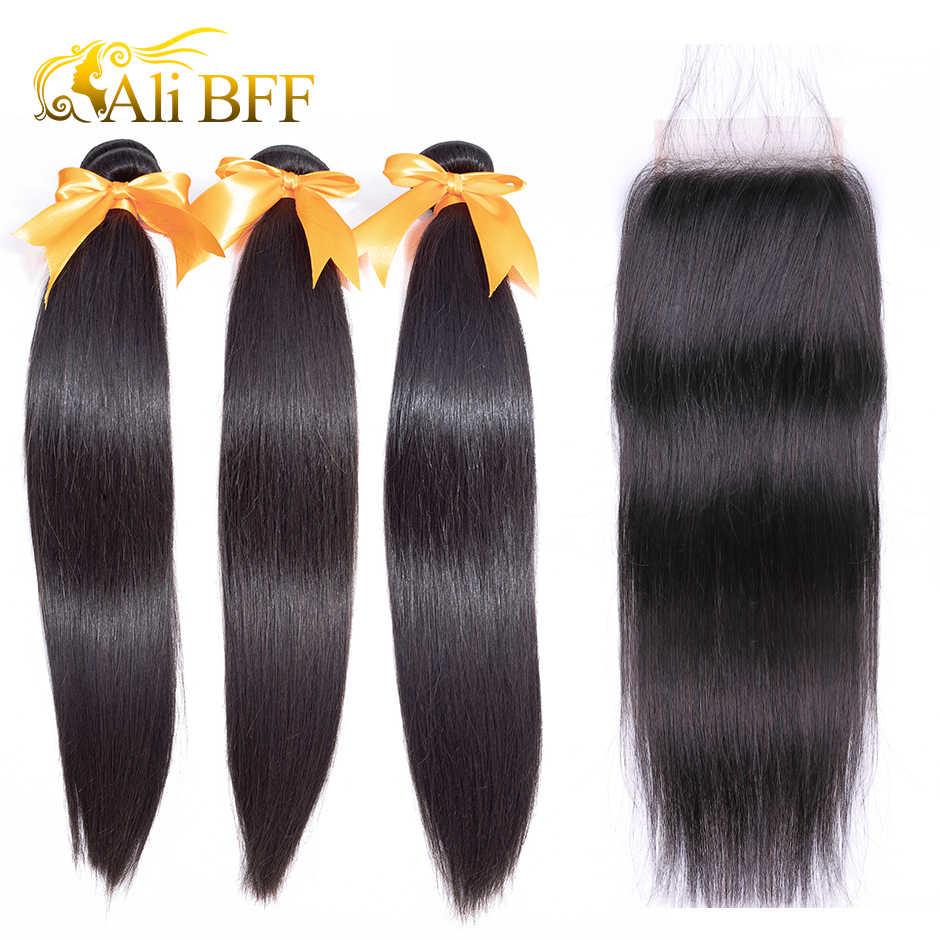 Mechones de pelo lacio brasileño BFF de ALI, con cierre 100% extensiones de cabello humano mechones con cierre, extensión de cabello Remy envío gratis