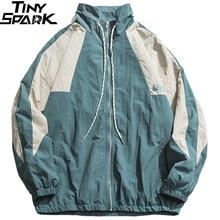 Erkekler Hip Hop rüzgarlık ceket Retro renk blok Patchwork Harajuku Streetwear ceket palto fermuar parça ceketler sonbahar 2019 yeni