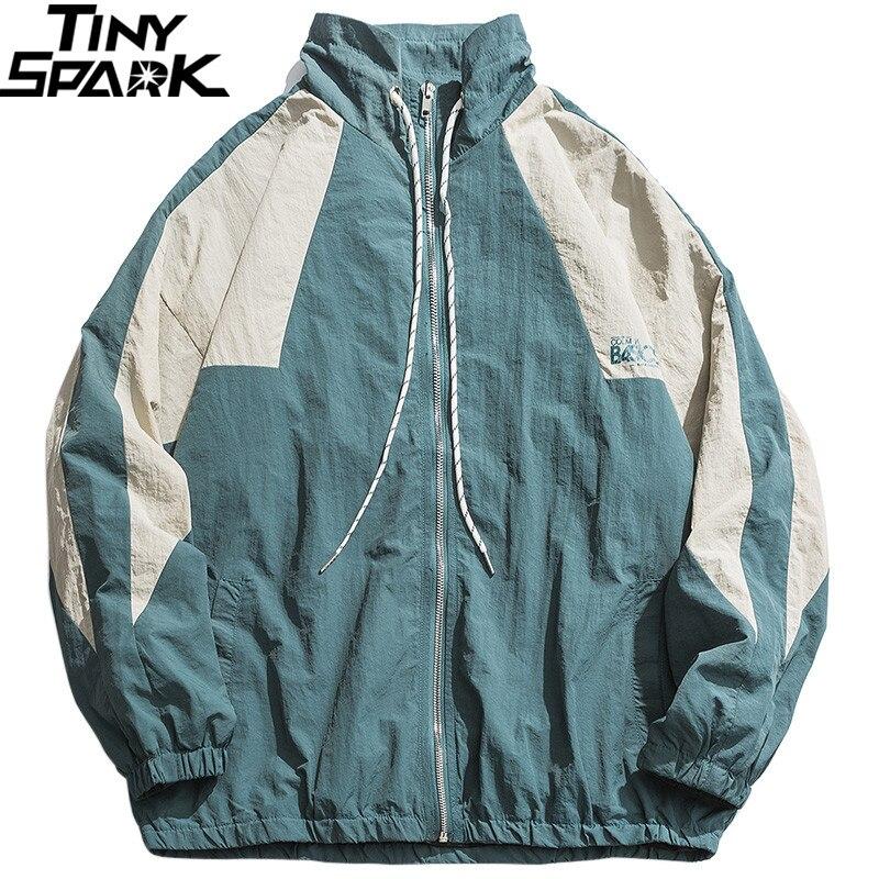 Men Hip Hop Windbreaker Jacket Retro Color Block Patchwork Harajuku Streetwear Jacket Coats Zipper Track Jackets Autumn 2019 New