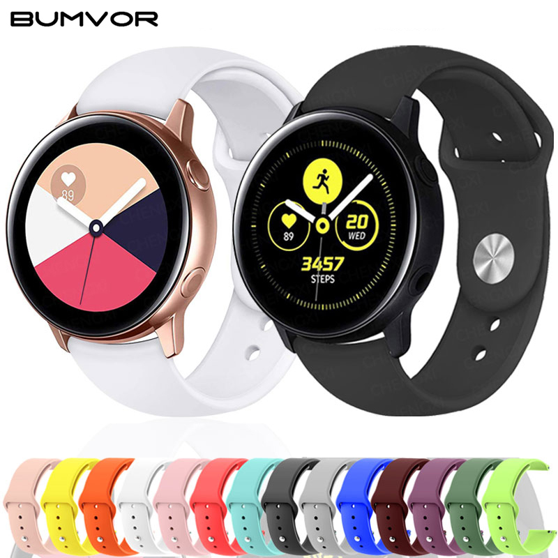 20mm 22mm Silicone Watchband For Samsung Galaxy Active2 40mm 44mm Gear S2 S3 Strap For Galaxy Watch 42mm 46mm Active 2 Band
