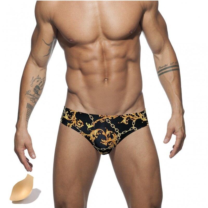 Swimming Briefs Beachwear Push-Pad Low-Waist Men's Summer Quick-Drying Print