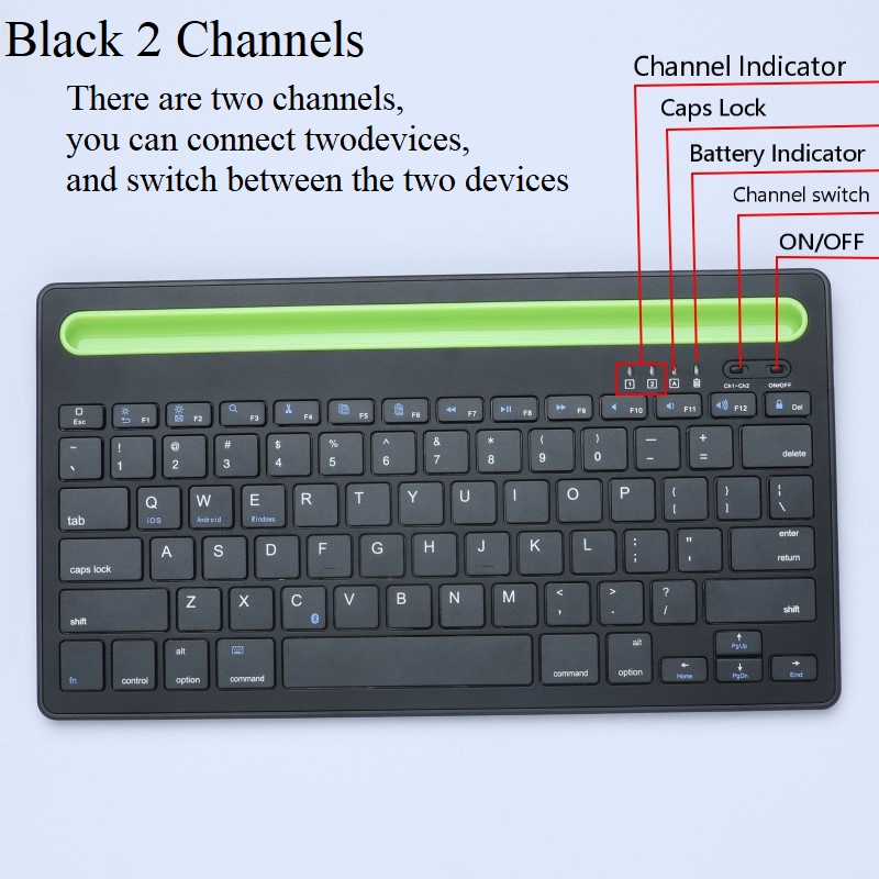 Dual Channel Bluetooth Keyboard With Phone Holder Rechargeable Wireless Keyboard For Tablet Laptop Phone Ios Windows Android Keyboards Aliexpress