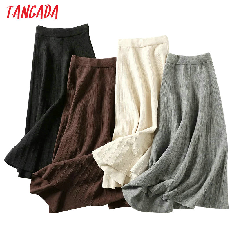 Tangada winter women knit long skirt elastic high waist warm office lady elegant black A-line maxi skirts female bottoms AQX06