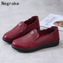 Quality Women Shoes PU Leather Loafers Women Casual Shoes Slip on Soft Comfortable Mother Shoes Woman Flats Mom Gift 2020 new women s handmade shoes genuine leather flat slip on mother shoes woman loafers soft single casual flats shoes women