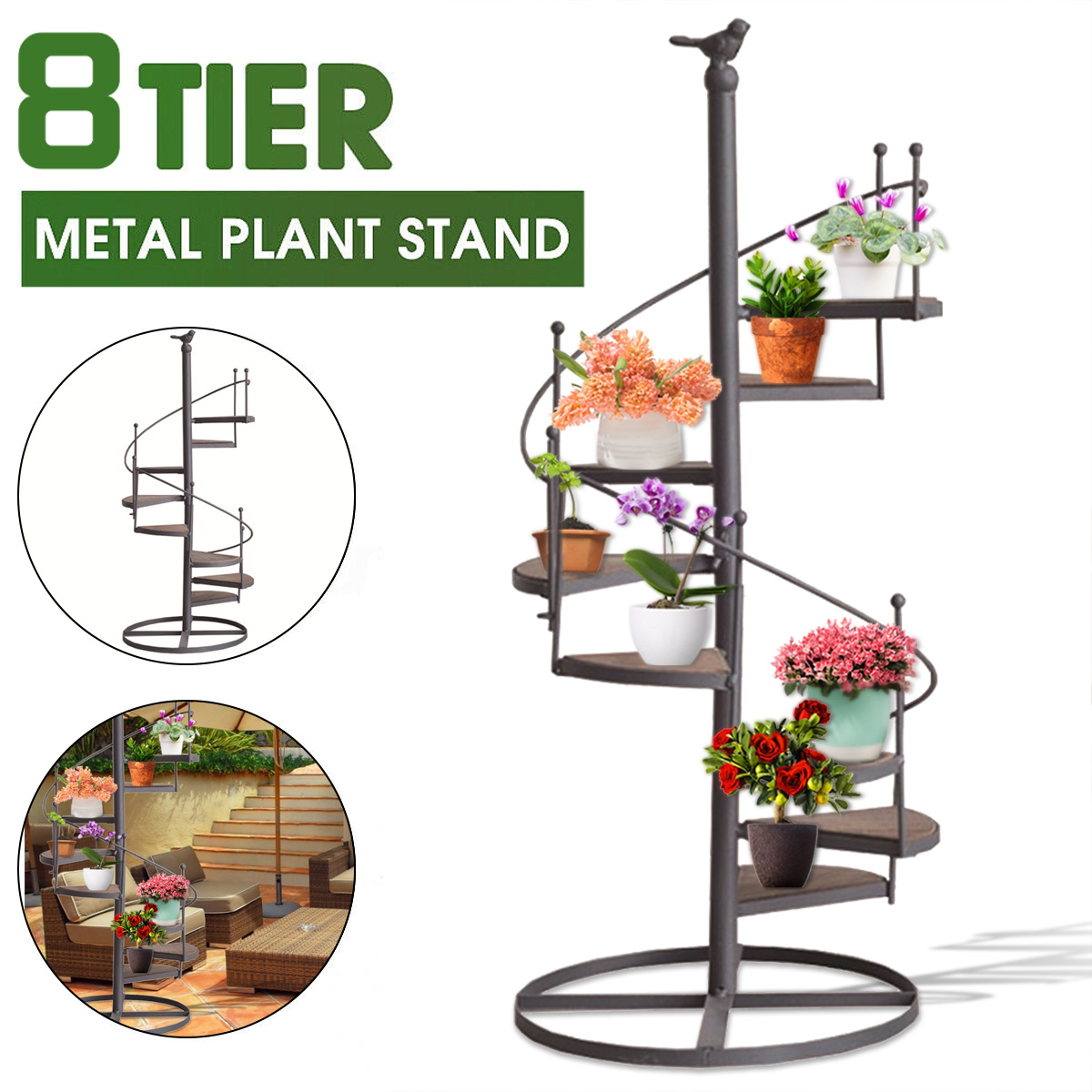 8 Tier Spiral Showcase Plant Stand Display Holder Iron Plant Rack Stand Plant Succulent Shelf Home Outdoor Patio Garden Decor