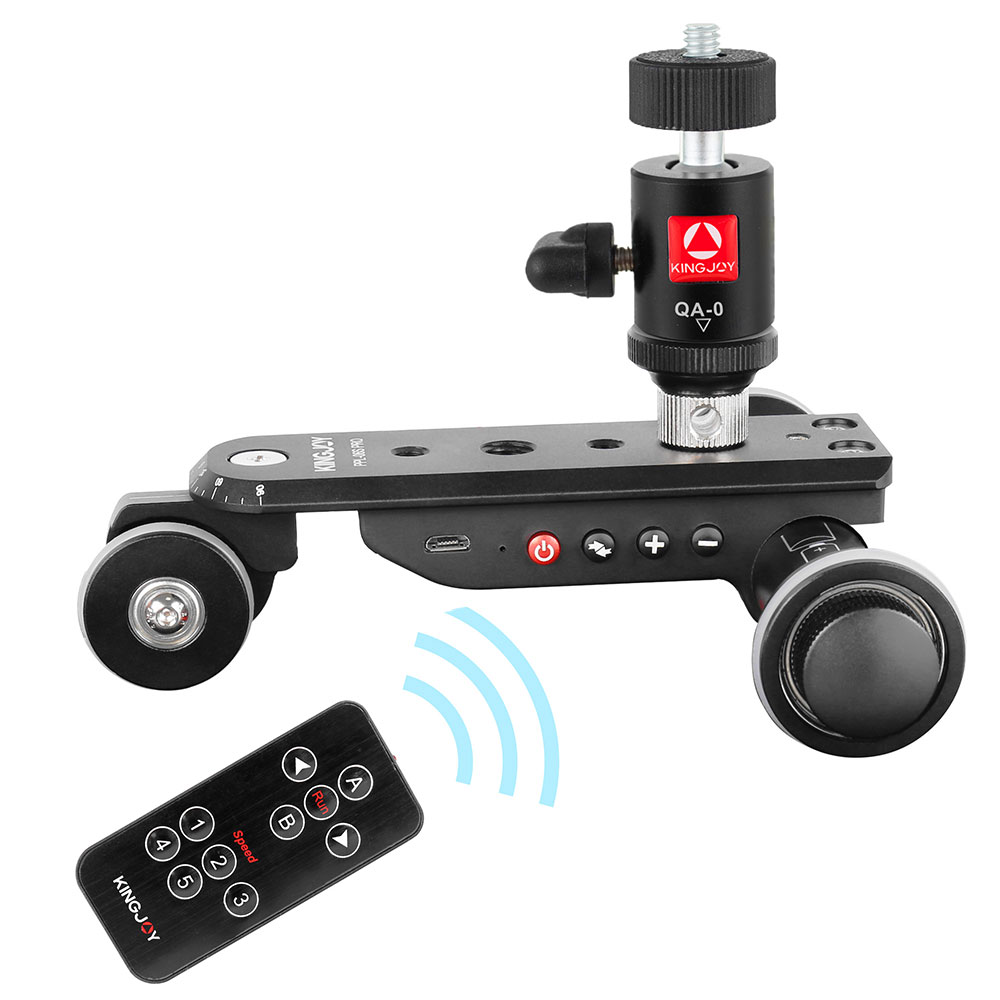 KINGJOY PPL-06S Camera Slider Dolly Car Rail Systems Time Lapse Electric Motorized Dolly Car For Camera Phone Camcorder Dslr