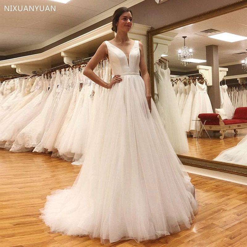 Sexy V-neck Beach Wedding Dresses 2020 Vestido Noiva Praia Simple White Ivory Tulle Casamento Sashes Bridal Gown