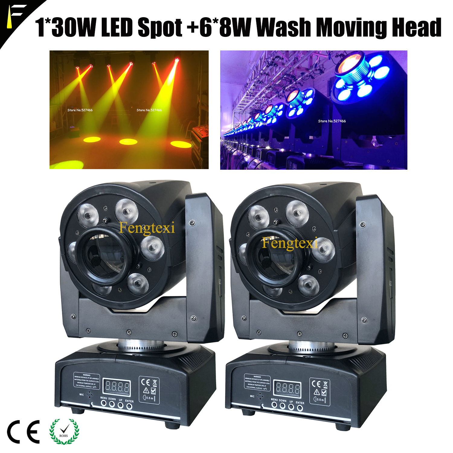 2units Compact Mini Beam Light 30w LED Moving Head Multifunction Wash Washer+Spot Spotlight With Parts DMX512 Cables Free Ship