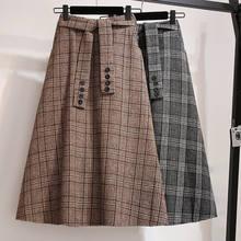 Saia de lã xadrez de cintura alta feminina, saia de tamanho grande para mulheres moças outono e inverno 2019 saia f1920