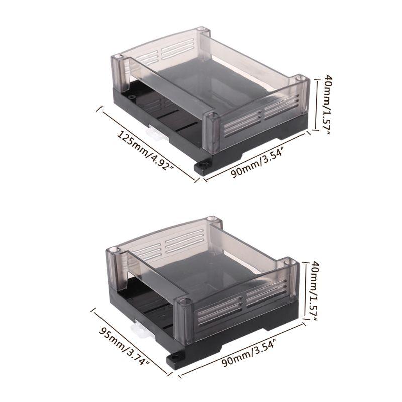 1pc Transparent Plastic Industrial Control Box Panel Enclosure Case Din Rail Project Electronic DIY PCB Shell