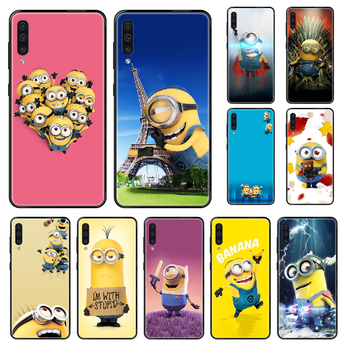 Cute Minions Phone case For Samsung Galaxy A 3 5 8 9 10 20 30 40 50 70 E S Plus 2016 2017 2018 2019 black painting funda 3D image