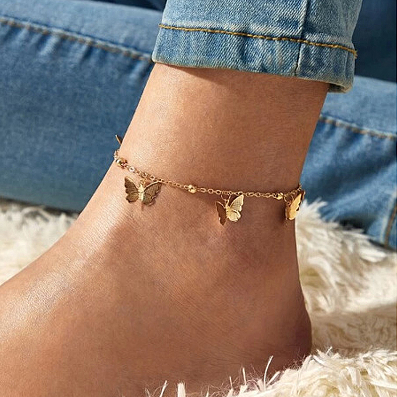 Bohemian Gold Color Butterfly Anklets for Women Multi Layers Ankle Bracelet Summer Ocean Beach Anklet Foot Leg Jewelry 2020