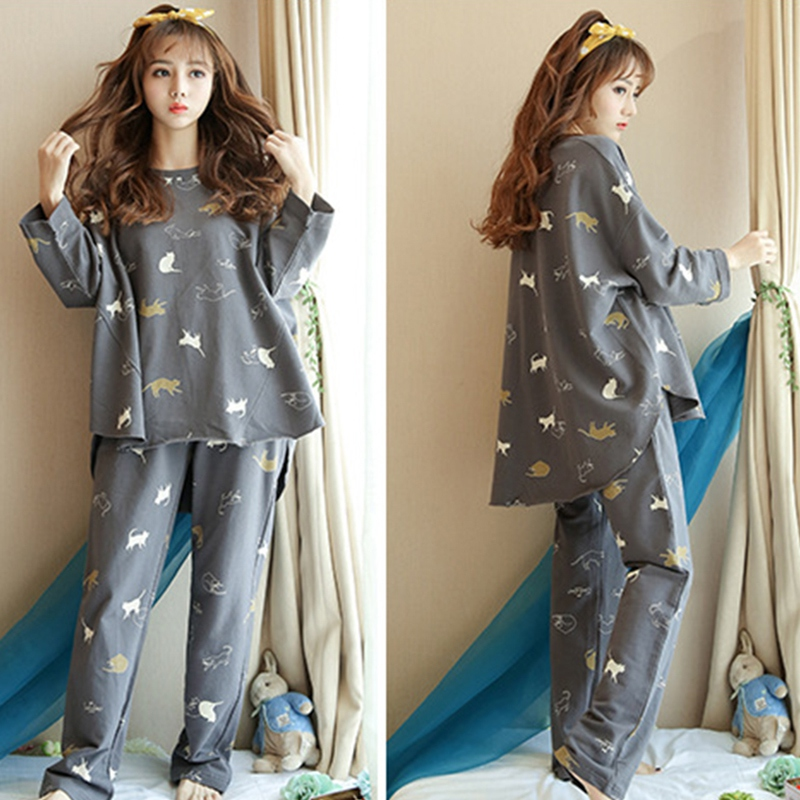 Women Autumn Winter Pajamas Set Cartoon Printed Long-sleeved Three Cat Print O-neck Pajamas + Sleep Pants  Feme