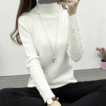 Women Turtleneck Sweaters 2018 Autumn Tops Long Sleeve Knitted Sweaters and Pull