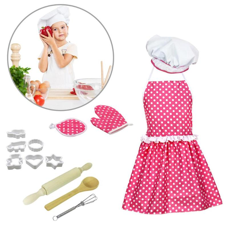13pcs Chef Role Play Set With Dress Up Costume Kid Aprons Microwave Oven Gloves Safety Innocuity Pretend Play Cookie Girl Toy