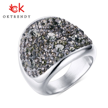 OKtrendy Wholesale 7 Color Big Crystal Rings for Women Austria Black Ring Stainless Steel Bijoux Femme